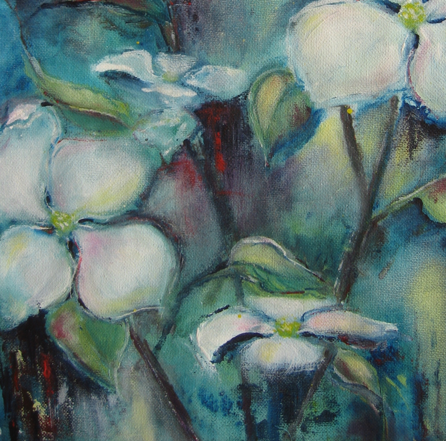 Cornus Venus Blüten II, Acryl, 30 x 30 cm