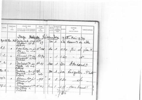 carnet de vol novembre 38 -mai 1939