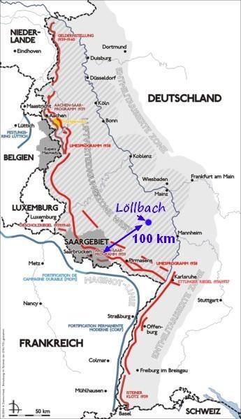 En rouge la ligne de Front le 21/02/1945 qui correspond à peu près au tracé de la ligne Siegfried