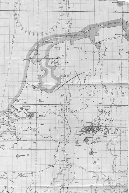 Carte  de navigation de Joumas sur la mission du 13/01/1945 sur Sarrebrück