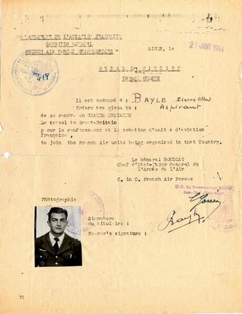 Ordre de mission vers l'Angleterre Archives SHD Air Vincennes