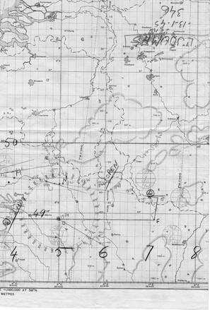 Carte de navigation anotée par Joumas mission du 13/01/1945 sur Sarrebrück