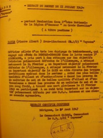 texte de la proposition à la Légion d'Honneur qui sera attribuée à Pierre Bayle