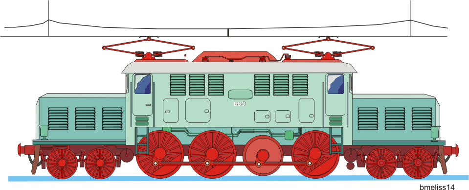 E-Lok mit Blindwelle und Kuppelstange. Vektorgrafik 2013