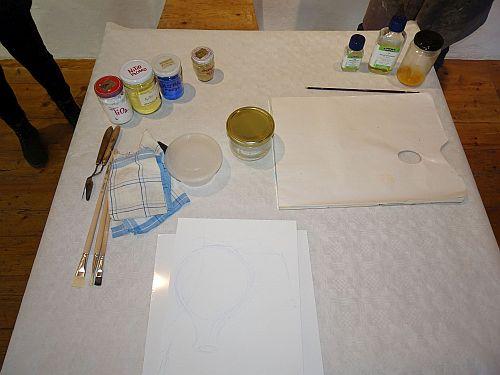 Pigmente, Bestandteile der Emulsion, Werkzeuge etc.