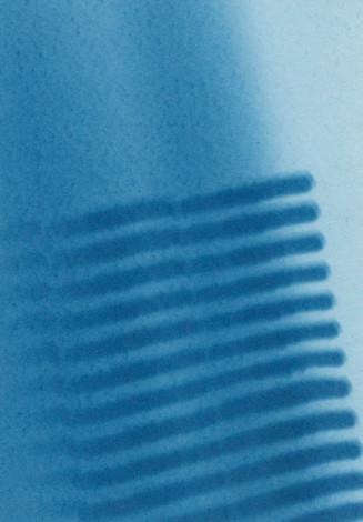 Eliana Bürgin-Lavagetti | Lichtsieb 2009, Cyanotypie, Die Licht-und Schattenseiten des immer gleichen Gegenstandes, eingefangener Augenblick, sichtbar geworden durch die Cyanotypie.
