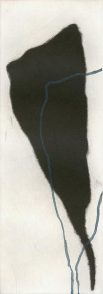 Eliana Bürgin-Lavagetti | Formen Funde 2003/2004. Mezzotinto, Siebdruck. Kupferplattenformat 8 x 21,5 cm, Blattgrösse 23 x 38 cm, Zerkall Bütten, 250 g/m2.