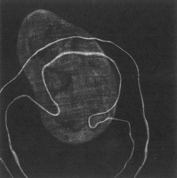 Eliana Bürgin | Schnittstellen 2001/2002, Mezzotinto, Kupferplattenformat 12,5 x 12,5 cm, Blattgrösse 20 x 20 cm, Zerkall Bütten 300 g/m2.