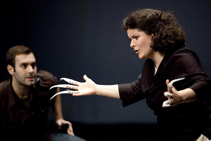 En répétition, Chérot (Sylvain Paré) et Tourterelle (Stéphanie Pothier)