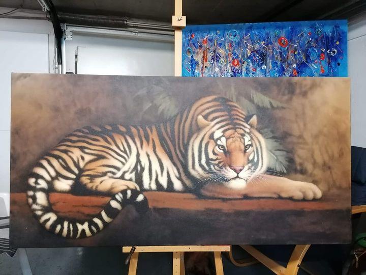 Peter Dessoy, Ruhender Tiger, Acryl auf Leinwand 50x200cm 520,-€