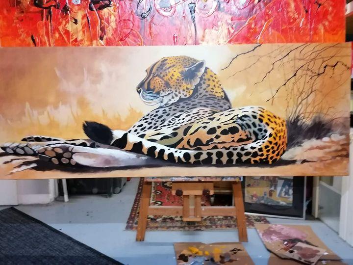 """Peter Dessoy, """"Ruhender Leopard"""" Acryl auf Leinwand 50x200cm 520,-€"""