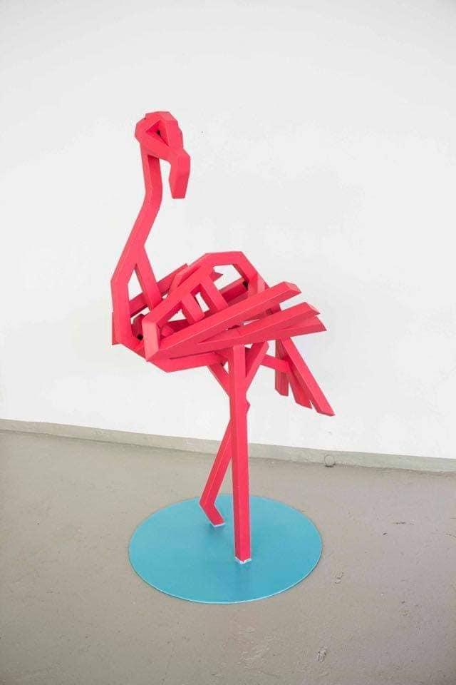 Paul Lässer, Flamingo Metallskulptur 1,50m hoch 4.000