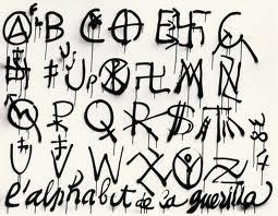 """Exemple de l'""""Alphabet socio-politique"""" par Jacques Villeglé-l'alphabet de la guerilla"""