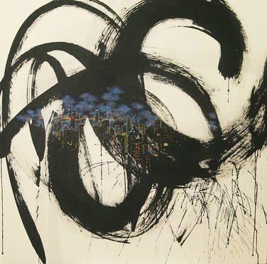 "JIEUN PARK-""little talk HK""51""X51"".ink and acrylic on korean paper-GABEL gallery; Strasbourg art fair. ST'ART"