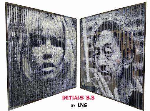 LNG, Tableau pop art, 2 images, Brigitte Bardot, Serge Gainsbourg, 60's, années 60, marilyn monroe, pink panther, popeye, wonder woman, bug bunny, mickey, tableau visuel, 2 tableaux en 1, James Dean, betty boop, donald duck, deux tableaux en un