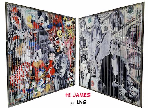 LNG, Tableau pop art, 2 images, marilyn monroe, pink panther, popeye, wonder woman, bug bunny, mickey, tableau visuel, 2 tableaux en 1, James Dean, betty boop, donald duck, deux tableaux en un