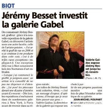 Jérémy Besset dans le Nice Matin pour son solo show Galerie Gabel- Biot