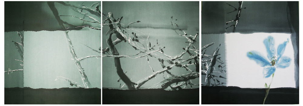 """Ночь на Ивана Купала"", триптих, брезент, свободная роспись, вышивка, 2010, 270х90 см. ""Midsummer Night"", canvas, triptych, free painting, embroidery."
