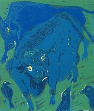 2011年 木版画 「知らぬ顔して」