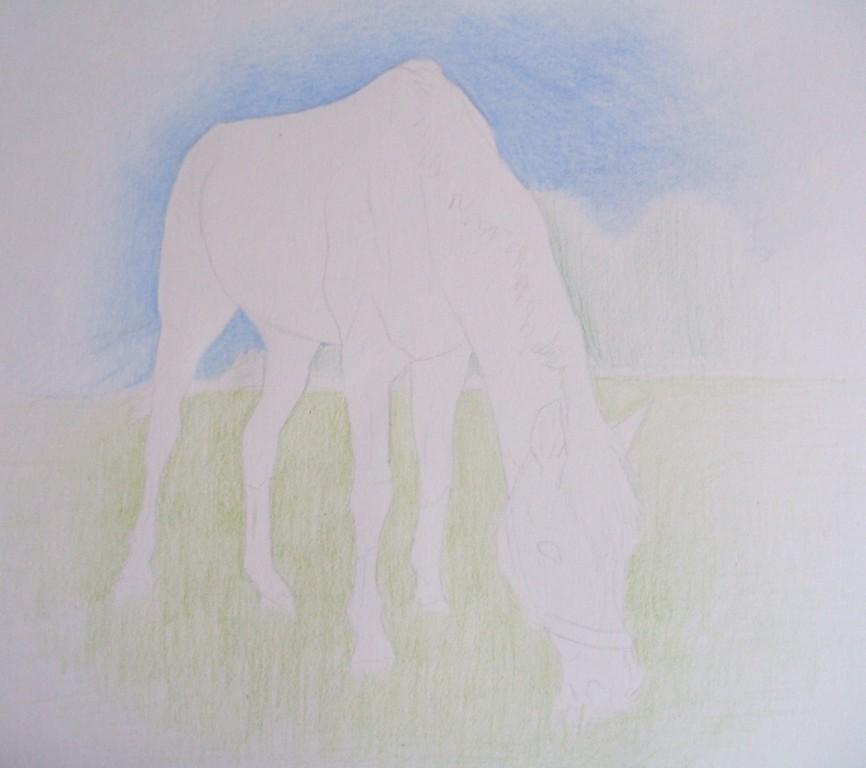 1h: Bleistiftskizze und anschließende Grundierung des Hintergrunds