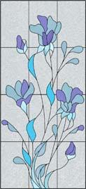 抽象的な花のステンドグラス・デザイン