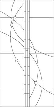 流れる曲線のステンドグラスのデザイン