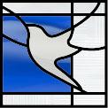 平和のシンボルのステンドグラス