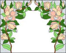 モダンな花のステンドグラス・デザイン