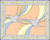 アートな鳥のステンドグラス・デザイン