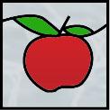 真っ赤なリンゴのステンドグラス
