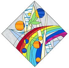 幻想的なステンドグラスのデザイン画