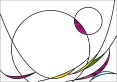 円を中心に踊るような楽しいデザイン