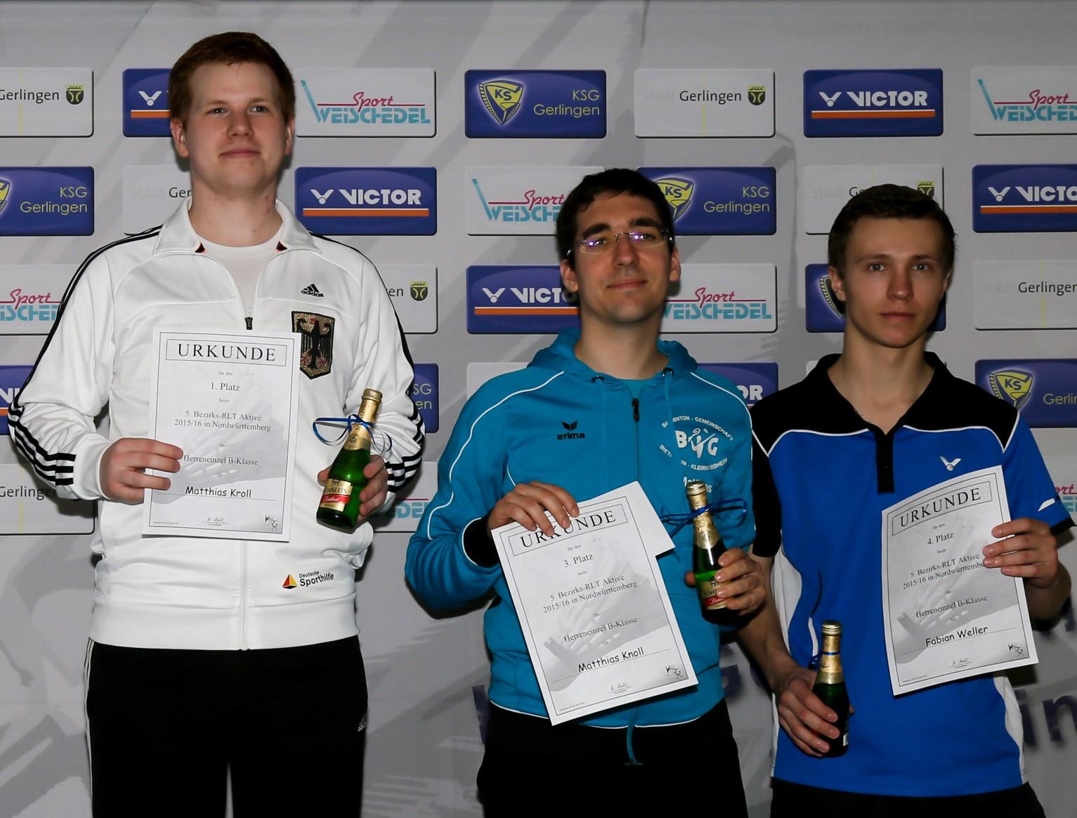 Siegerehrung Herreneinzel 1. Platz Matthias