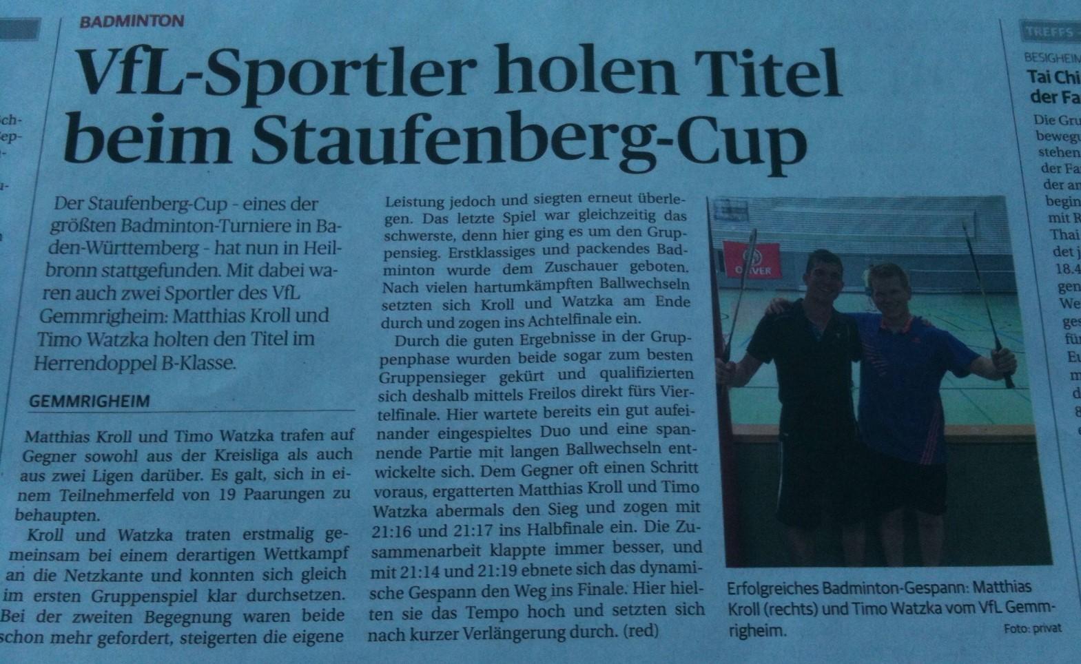 Bericht NEB zum Staufenberg-Cup Heilbronn 2015