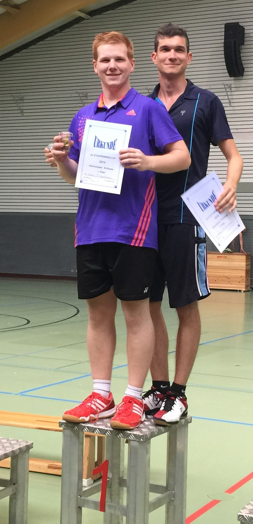 Sieger Herrendoppel Timo und Matthias (vorne)