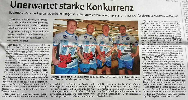Zeitungsbericht Stromberg-Turnier