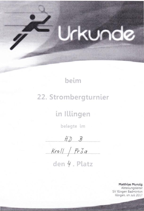 Urkunde Herrendoppel B 4. Platz