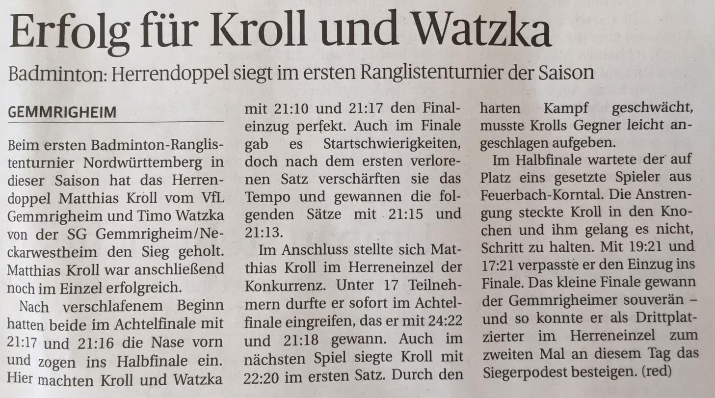 Bericht im Neckar-Enz-Bote Ranglistenturnier Feuerbach