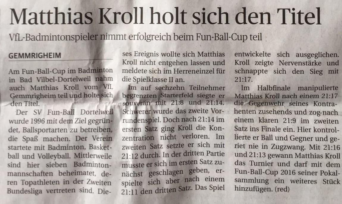 Bericht NEB zum Fun-Ball-Cup Dortelweil