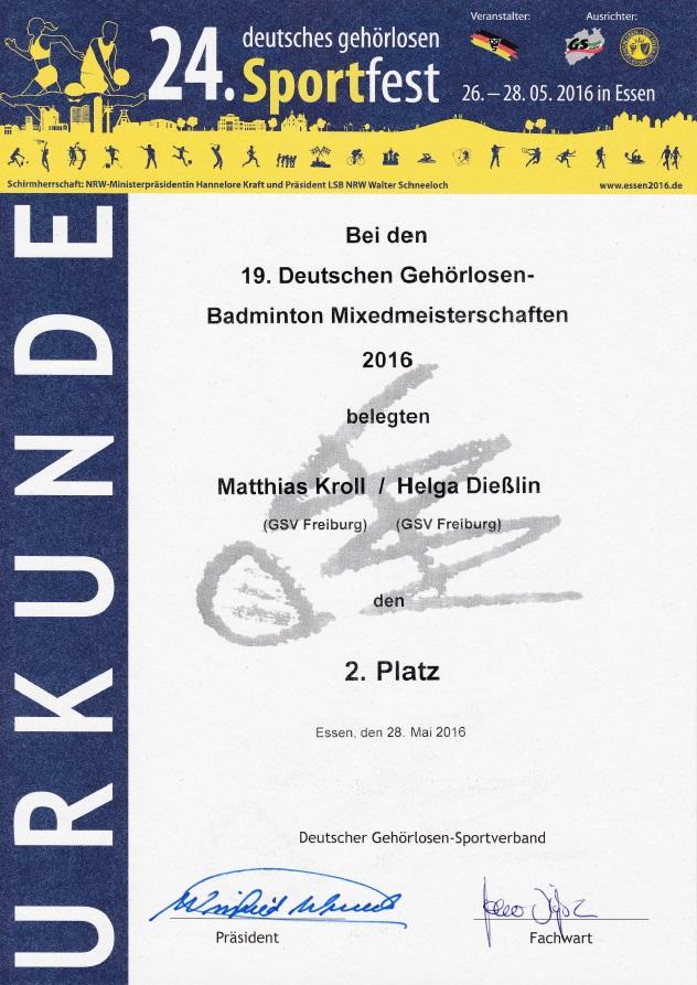 Urkunde Mixed-Doppel 2. Platz