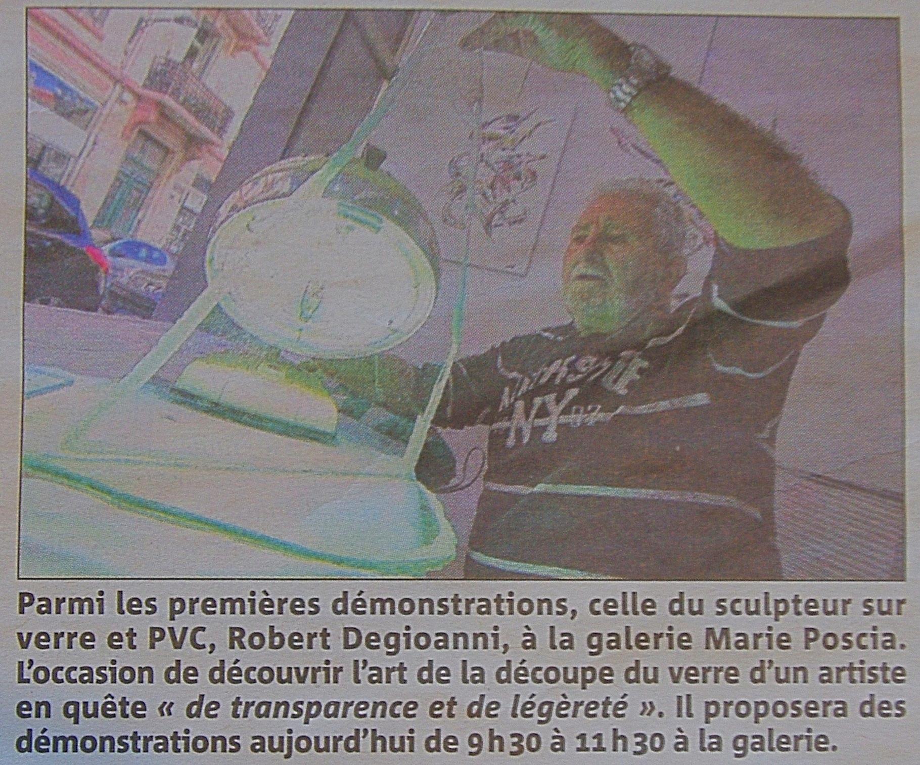 Journées européenne d'art, Art en ville, démonstration de Robert Degioanni: Var matin du 28 Mars 2015