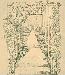 © Bild: Irisgarten im Friedhof Brüssel-Evere von Leberecht Migge, Bleistift auf Papier, ASLA Archiv für Schweizer Landschaftsarchitektur