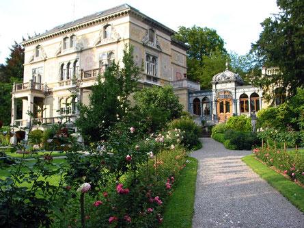 Villa Patumbah mit Gartenanlage, Zürich heute: Sanierung der Gartenanlage erfolgte auf Basis der Grundlagen aus dem Nachlass Evariste Mertens, Zürich (1846 - 1907).  -                      © Copyright SLA
