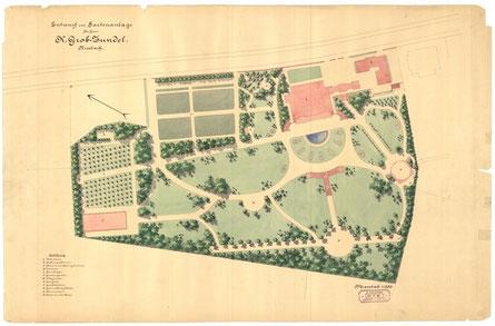 Schauplan aus den Beständen des Archivs für Schweizer Landschaftsarchitektur ASLA: Evariste Mertens, Zürich (1846 - 1907), Gartenanlage K. Grob-Zundel, Riesbach (Villa Patumbah, Zürich), 1889, Papier, koloriert.  - © Copyright SLA