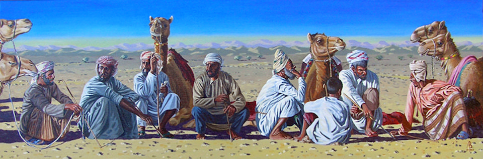 Early morning, Camel Races, Oman.  Sold to private customer