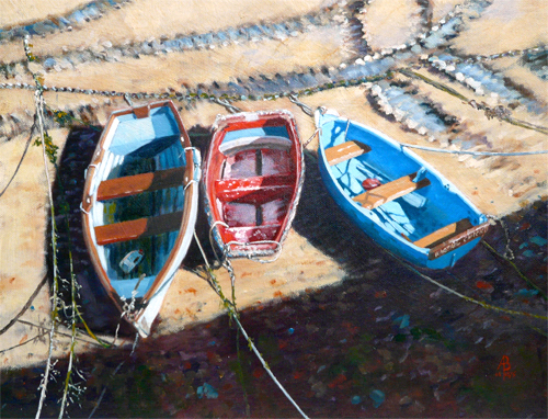 A Tangle of Tracks and Tenders - Oil on canvas board, 12 x 16 inches (30 x 40 cm).