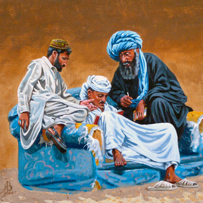 Goat market accountants in the shade, UAE - Acrylic on heavy card, 12 x 12 inches (30 x 30 cm)