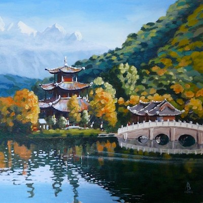 Black Dragon lake, Lijiang, Yunnan province, China - Acrylic on heavy card, 12 x 12 inches