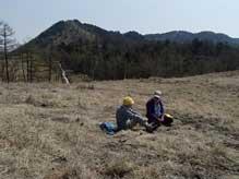 笠取山を背景に草原でのひととき(横山厚夫氏撮影)