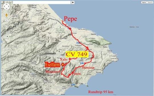 Karte von Februar 2014 --- Tour heute wiederholt. Eselsfarm heute nicht besucht.